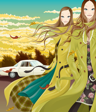 european hair beautiful girl vector