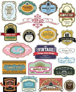 labels templates colorful flat retro design