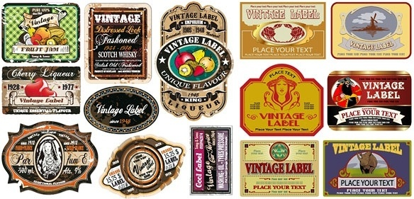european nostalgia label vector