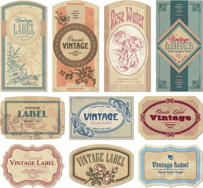 labels templates collection colored retro design