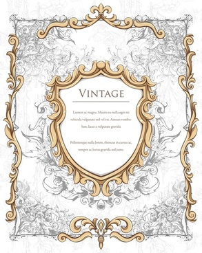 retro frame template luxury symmetrical elegant royal decor