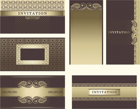 wedding card design elements formal retro european decor