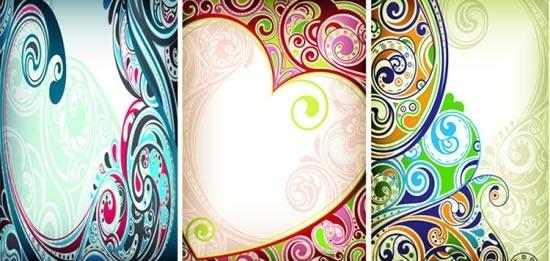 decorative background curves heart doodle shapes