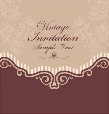 invitation card template elegant dark flat retro decor