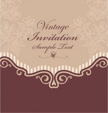 invitation card template elegant dark flat retro decor