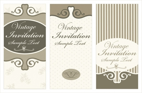 wedding card templates elegant retro decor flat design