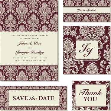 wedding card templates dark elegant classic repeating symmetry
