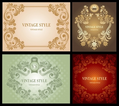 decorative pattern sets retro seamless symmetrical curves decor