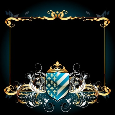 heraldic frame template elegant curved symmetric decor