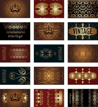 card background templates luxury royal decor dark design