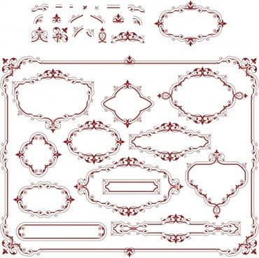border decorative elements elegant retro symmetric shapes