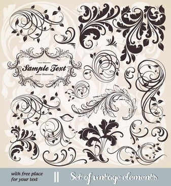 decorative elements templates elegant classical swirled design