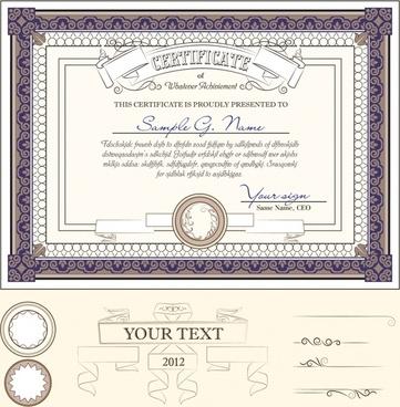 european pattern lines vector awards certificates
