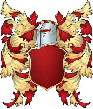 european heraldic template elegant golden red shield armor