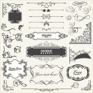document decorative elements elegant retro shapes