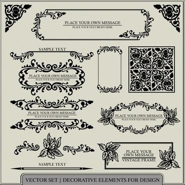 document decorative elements retro elegant symmetric leaves shapes