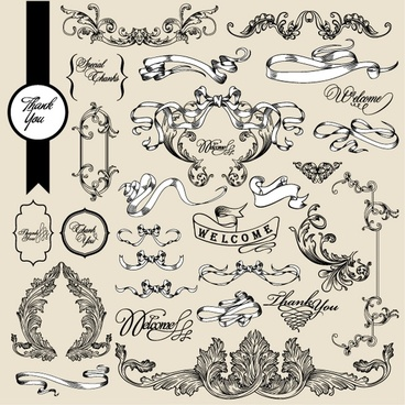 wedding card decor elements classic elegant european ribbons