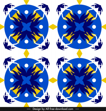 european pattern template colorful retro symmetric flat decor