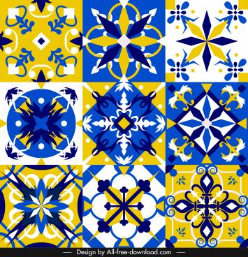 european pattern templates formal colorful symmetric shapes