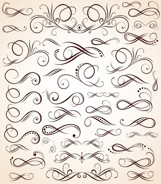 pattern design elements classical flat seamless curves sketch