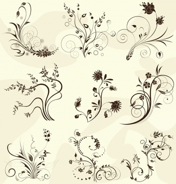pattern design elements flower icons classical curves ornament