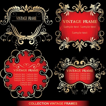 frames templates golden vintage symmetrical curves decor