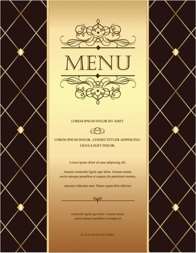 menu cover template elegant dark brown geometric decor