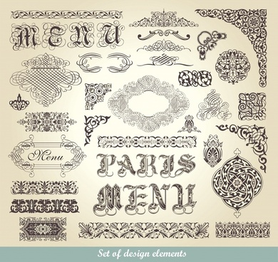menu decor elements classical seamless curves sketch