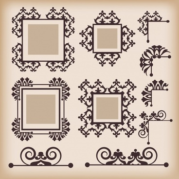 frame decorative templates elegant european retro symmetric design