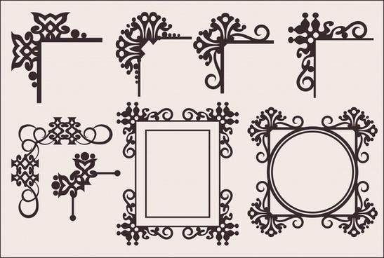border decorative elements flat classic european symmetric design