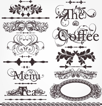 decorative elements templates european retro symmetrical shapes