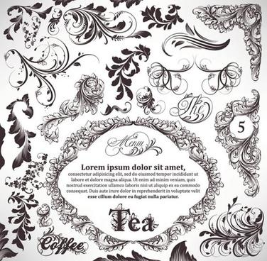 document decorative elements elegant classical european leaf curves