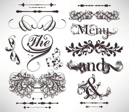 document decorative elements elegant vintage european symmetric shapes