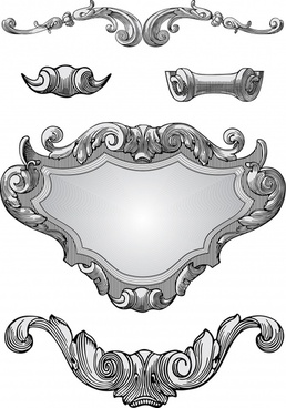 decorative elements templates elegant european symmetric shapes