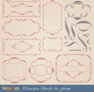border decor elements templates elegant classic curves sketch