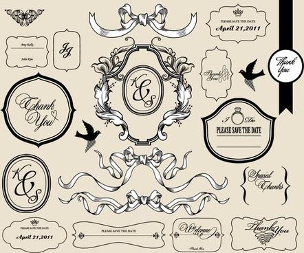 wedding card decor elements classic elegant shapes
