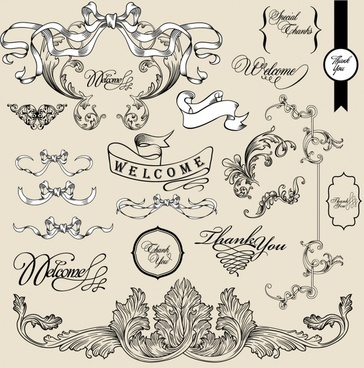 wedding card decor elements elegant symmetric ribbon sketch