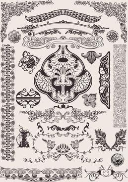 document decorative elements retro european symmetric shapes
