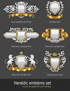 heraldic decor elements templates luxury elegant retro shapes