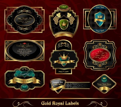 royal labels templates luxury elegant dark decor