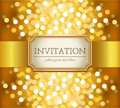 invitation card background shiny luxury golden bokeh light effect