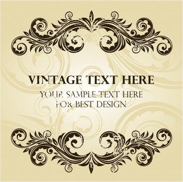document decorative background template retro symmetric curved elements