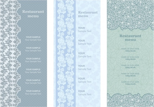 restaurant menu templates elegant classic floral leaves decor