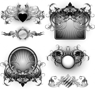 decorative design elements black white elegant symmetric shapes