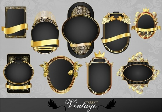 label templates elegant luxury black golden decor