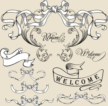 welcoming ribbon templates formal 3d curled shapes sketch