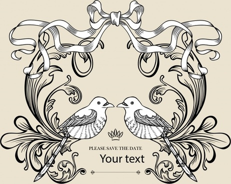 wedding decor template bird couple classical symmetric ribbon