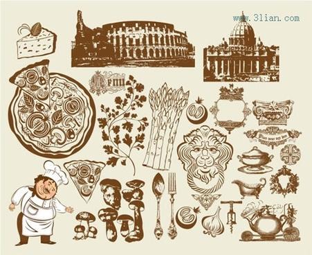 italia culinary design elements vintage symbols sketch