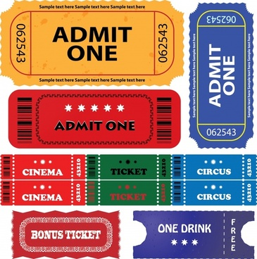 ticket templates collection modern colored flat shapes