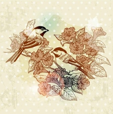 european retro bird flower painting vector